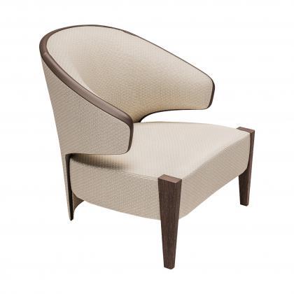 Seta Club Chair With Leather Decoration