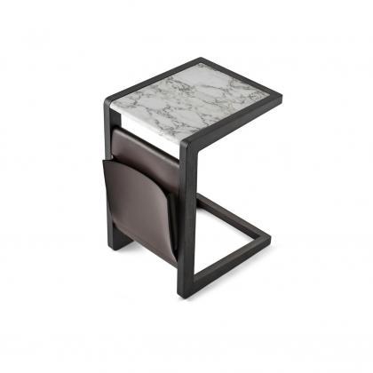 Ago Side Table - ago side table Calacatta Marb.&leather f