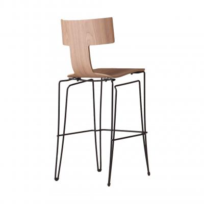 Anziano Bar Chair - NATURAL WALNUT